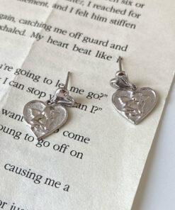 [925純銀]復古愛心浮雕耳釘