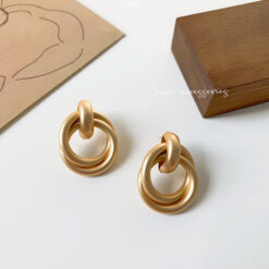 [鋼針]復古啞光圓圈耳環