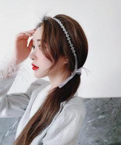 森系珍珠飄帶髪箍