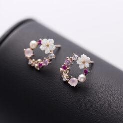 [925純銀]甜美鋯石貝殼耳釘