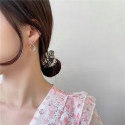 [925銀針]森系鑲鉆花朵耳環