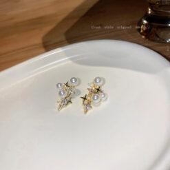 [925銀針]氣質珍珠鑲鉆耳釘