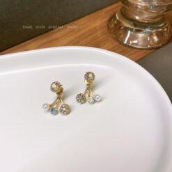 [925銀針]簡約櫻桃水晶耳環