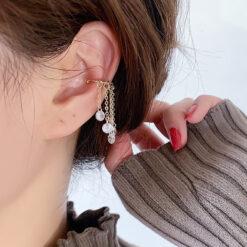 [耳骨夾]森系水晶流蘇耳夾