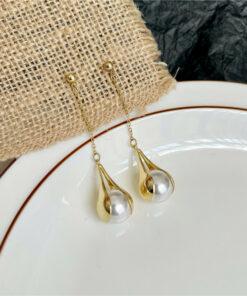 [925銀針]法式流蘇珍珠耳環