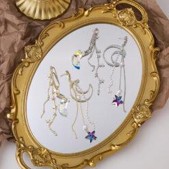 [925銀針]氣質星星月亮耳環