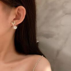 [925銀針]森系蝴蝶珍珠耳環