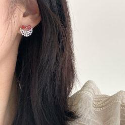 [925純銀]甜美蝴蝶結鑲鉆耳釘