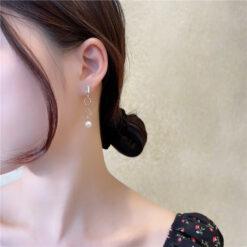 [925銀針]個性四方皓石珍珠耳釘
