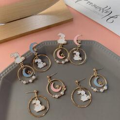[鋼針]甜美月亮玉兔耳環