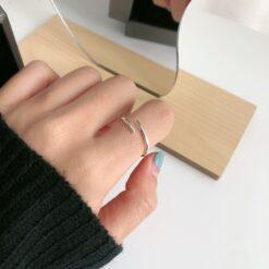 [925純銀]小眾交叉細戒指