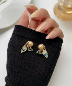 [925銀針]復古人魚尾珍珠耳釘