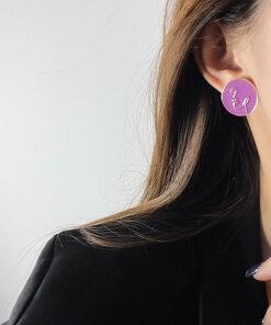 [鋼針]抽象人像線條耳環