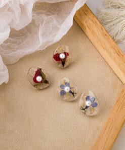 [925銀針]復古珍珠幹花耳釘