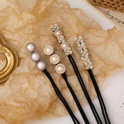 盤發器珍珠花朵髪圈