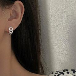 [925純銀]小眾幾何鏤空耳環