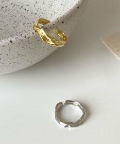 [925純銀]簡約肌理紋路戒指