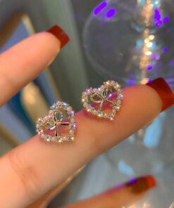 [925銀針]愛心蝴蝶結耳環