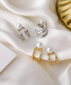 [925銀針]個性珍珠雙層耳釘