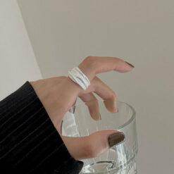[925純銀]不規則熔巖戒指