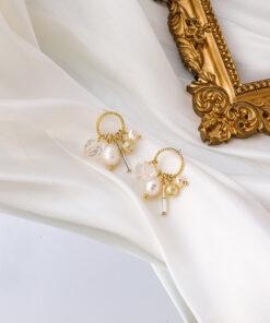 [925銀針]氣質珍珠水晶耳釘