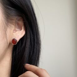 [925純銀]高級紅瑪瑙耳釘