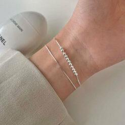 [925純銀]小清新蛇骨銀珠手鏈